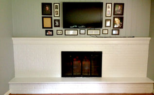 painting fireplace brick white, concrete masonry, fireplaces mantels, home decor, living room ideas, painting