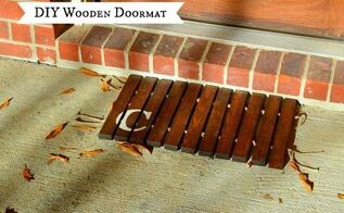 diy wooden doormat, diy, woodworking projects