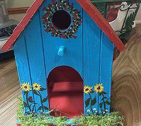 Bird House Painted for Fairy Garden Hometalk