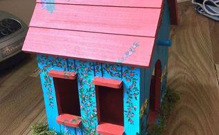 bird house painted for fairy garden, crafts, gardening