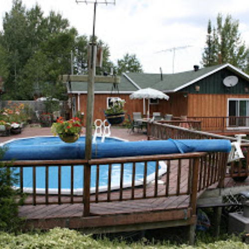 above ground pool deck off house