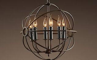 chandelier restoration hardware orb knockoff, lighting, repurposing upcycling, Restoration Hardware Chandelier