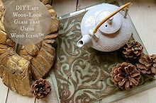 gorgeous lacy wood look glass tray using wood icing products, crafts