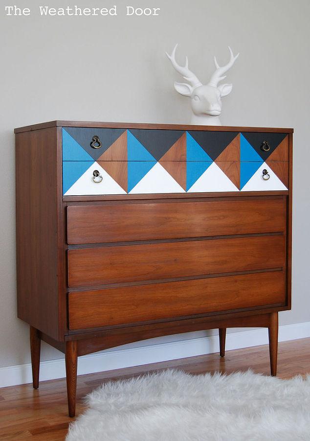 Painted Geometric Mid Century Dresser Hometalk