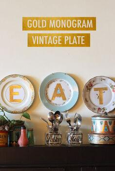gold monogram vintage plates, crafts, home decor, kitchen design, wall decor