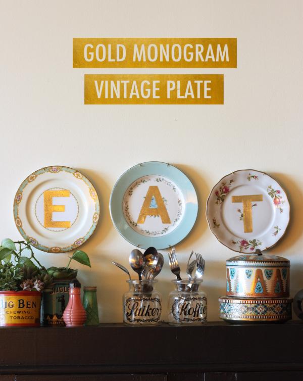 Gold monogram vintage plates hometalk - Decorating with plates in kitchen ...