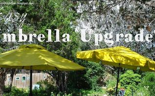 patio umbrella upgrade redo, outdoor furniture, outdoor living, patio, repurposing upcycling