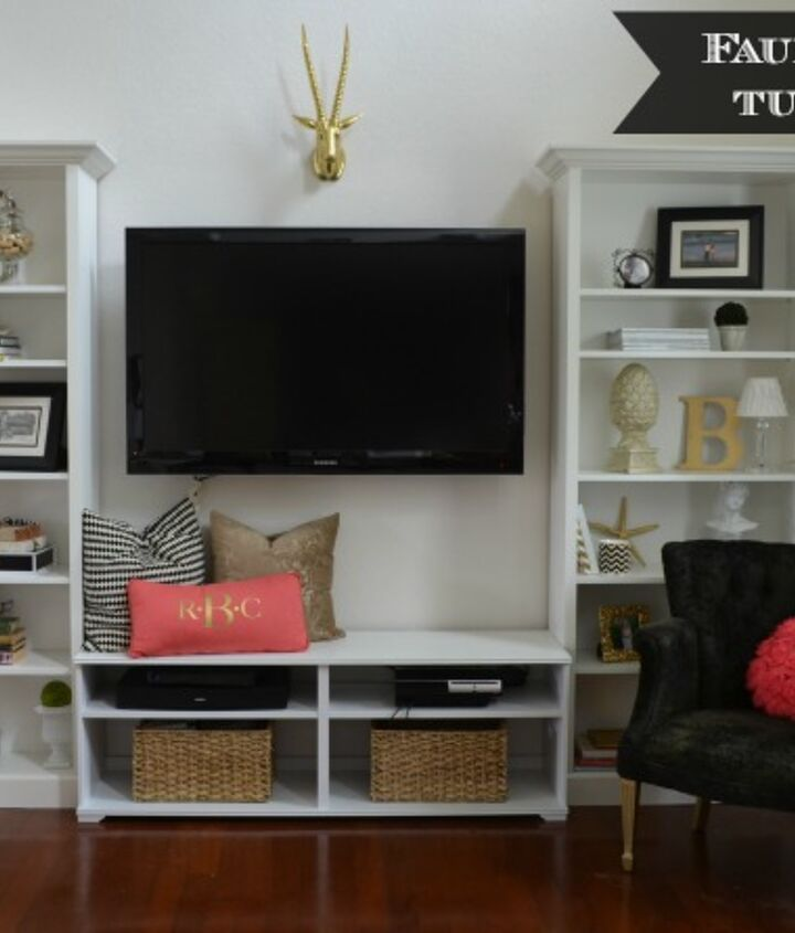 "Living Room Shelves faux"" built-in living room shelves tutorial 