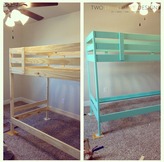 Ikea bunk bed hack hometalk - Ikea bunk bed room ideas ...