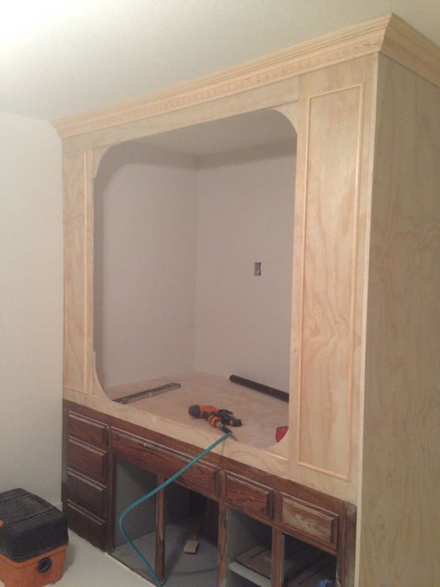 Old kitchen cabinets into built in bed hometalk for Bunk beds built into wall