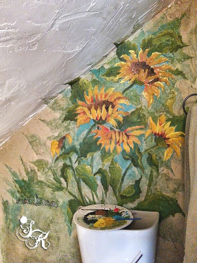 Small Bathroom Redos Painting Mural Floral Bathroom Ideas Painting Wall Decor