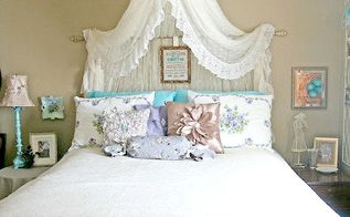 canopy bed, bedroom ideas, Vintage Aqua Bedroom With European Flair Canopy Bed via Hometalker Busy Bee Emily
