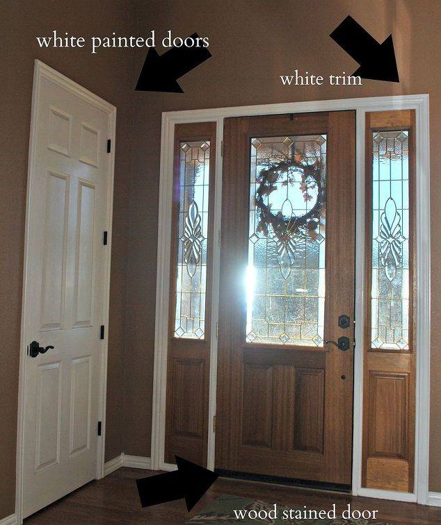 Front door makeover from stain to paint hometalk for Cost to paint interior doors and trim