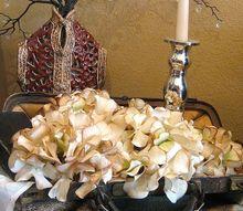 aging fake hydrangea, home decor