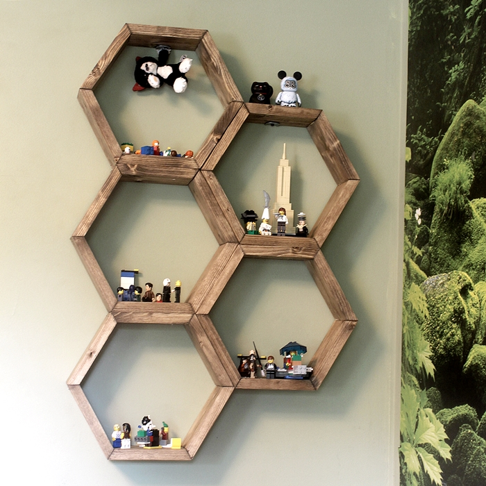 Make honeycomb hexagon display shelves hometalk for Display bedroom ideas