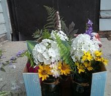 mason jar aisle planter outdoor wedding idea, flowers, mason jars, outdoor living, repurposing upcycling