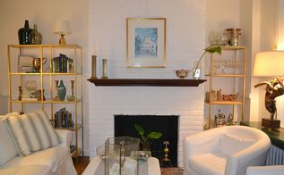 painted brick fireplace white redo, concrete masonry, home decor, living room ideas, painting