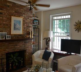 Painted Brick Fireplace White Redo, Concrete Masonry, Home Decor, Living  Room Ideas,