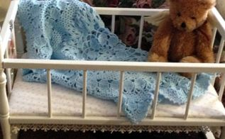 shabby chic doll cradle, decoupage, painted furniture, shabby chic
