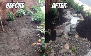 landscaping pondless waterfall build before after, landscape, ponds water features
