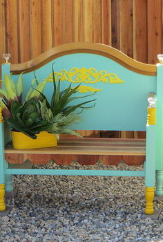 outdoor furniture bench bed frame repurpose upcycle, diy, outdoor furniture, repurposing upcycling, This the finished look and only cost little