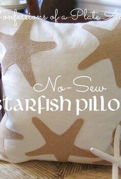 diy pillow starfish no sew beachy, crafts