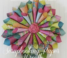 diy wreath scrapbooking paper, crafts
