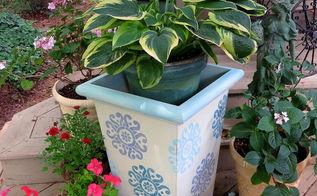 chalk paint stencil garden pots, chalk paint, container gardening, gardening