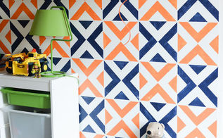 painting stenciled accent wall, bedroom ideas, home decor, paint colors, painting, wall decor