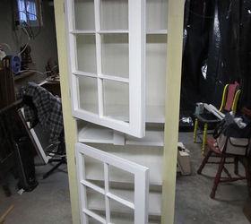 Kitchen cupboard windows waterbed lumber upcycle, closet, diy, kitchen
