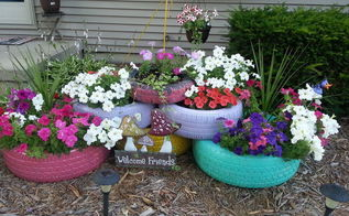 garden ideas tire planter colorful upcycle, container gardening, flowers, gardening, repurposing upcycling