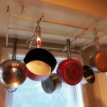 kitchen ideas pot pan hangers, kitchen design, repurposing upcycling, storage ideas