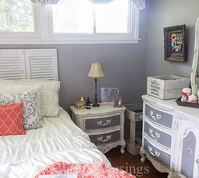 Gray And Coral Bedroom Makeover Diy And Thrift From Top To Bottom, Bedroom  Ideas,