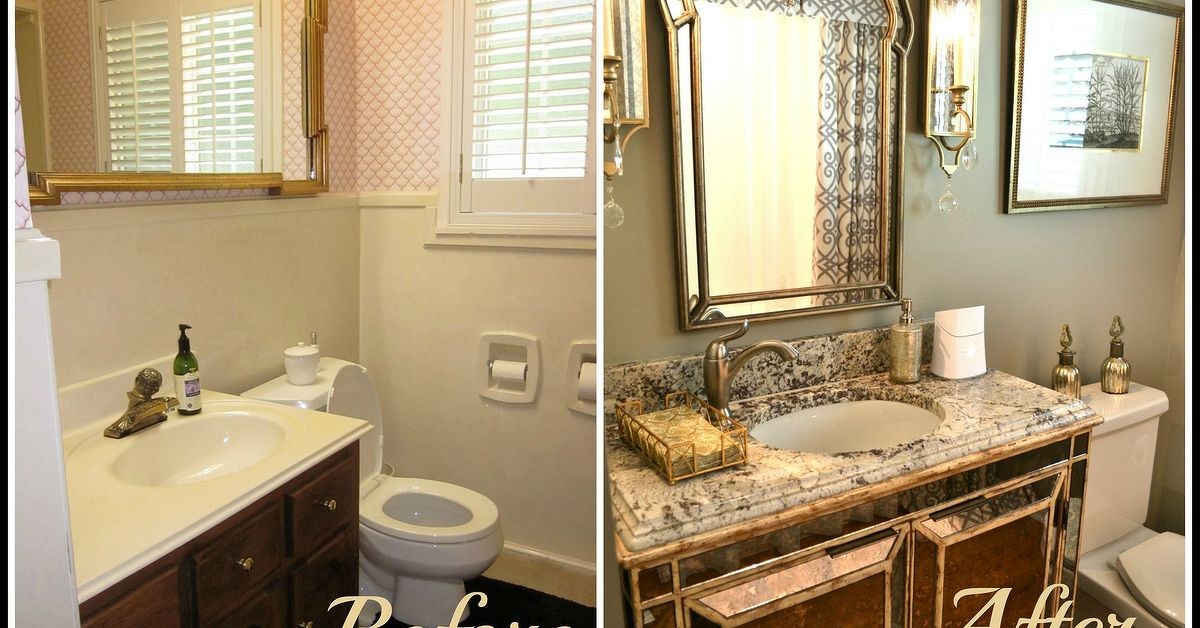 Small bathroom glam redo hometalk Small bathroom remodel designs