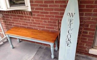 porches welcome sign ironing board vintage repurpose antique, outdoor living, repurposing upcycling