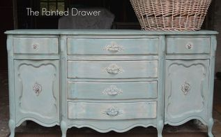painted furniture buffet blue french provincial, chalk paint, painted furniture