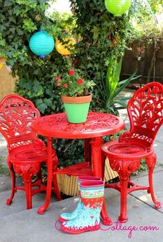 outdoor furniture rustoleum spray paint bistro set red, outdoor furniture, outdoor living, paint colors, painted furniture