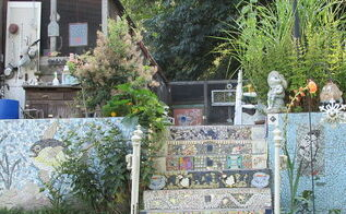 backyard ideas tiling tile glass summer stairs, repurposing upcycling, stairs, tiling