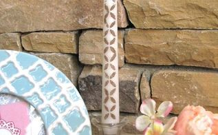 diy stenciled candles modpodge sand glitter, crafts, decoupage, home decor