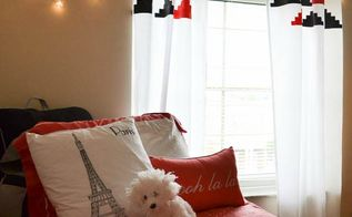 diy stenciled curtains for the dorm made from a twin sheet, bedroom ideas, home decor, painting, reupholster, window treatments