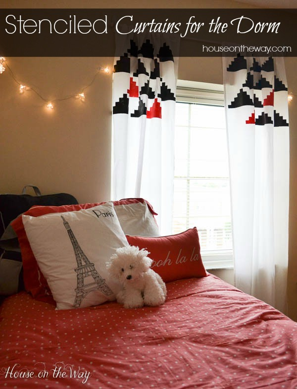 Curtains Ideas curtains made from bed sheets : DIY Stenciled Curtains for the Dorm Made From a Twin Sheet | Hometalk
