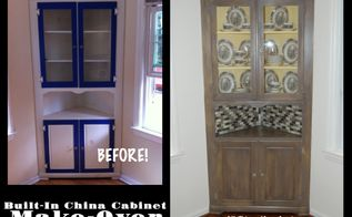 china cabinet built in knotty pine wood, painted furniture, repurposing upcycling