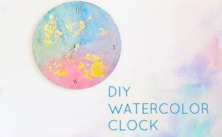 diy watercolor clock, crafts, decoupage, home decor, wall decor