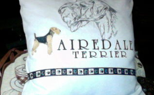 pillow covers shirts sweatshirts repurpose, crafts, repurposing upcycling, An Airedale lover reuse from favorite shirt