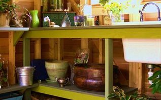 potting shed with wine cooler and ceiling fan my kind of gardening, container gardening, gardening, outdoor living, repurposing upcycling