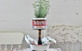 repurposed bowls and tins into tiered stands, home decor, repurposing upcycling