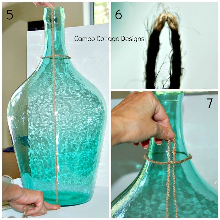 Diy knotted jute netting for demijohns and bottles tutorial hometalk Home decoration with jute