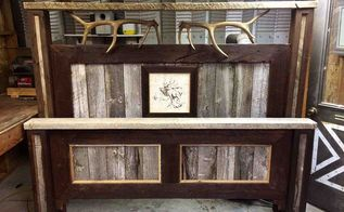 old rustic barn wood bed turned out pretty good for my first try, diy, repurposing upcycling