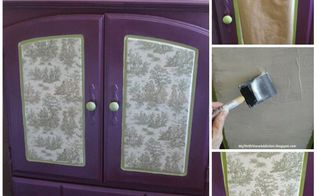 how to mod podge fabric to furniture, decoupage, diy, painted furniture, reupholster