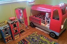 fire truck toddler bed, bedroom ideas, diy, painted furniture, repurposing upcycling, woodworking projects